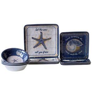 Calm Seas Heavy Weight Melamine 12 Piece Dinnerware Set, Service for 4