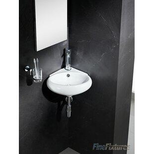 "Modern Ceramic 17"" Corner Bathroom Sink. by Fine Fixtures"