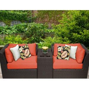 Barbados 3 Piece Rattan Conversation Set with Cushions