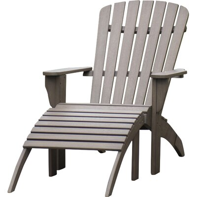 Beau Renley Solid Wood Adirondack Chair With Ottoman