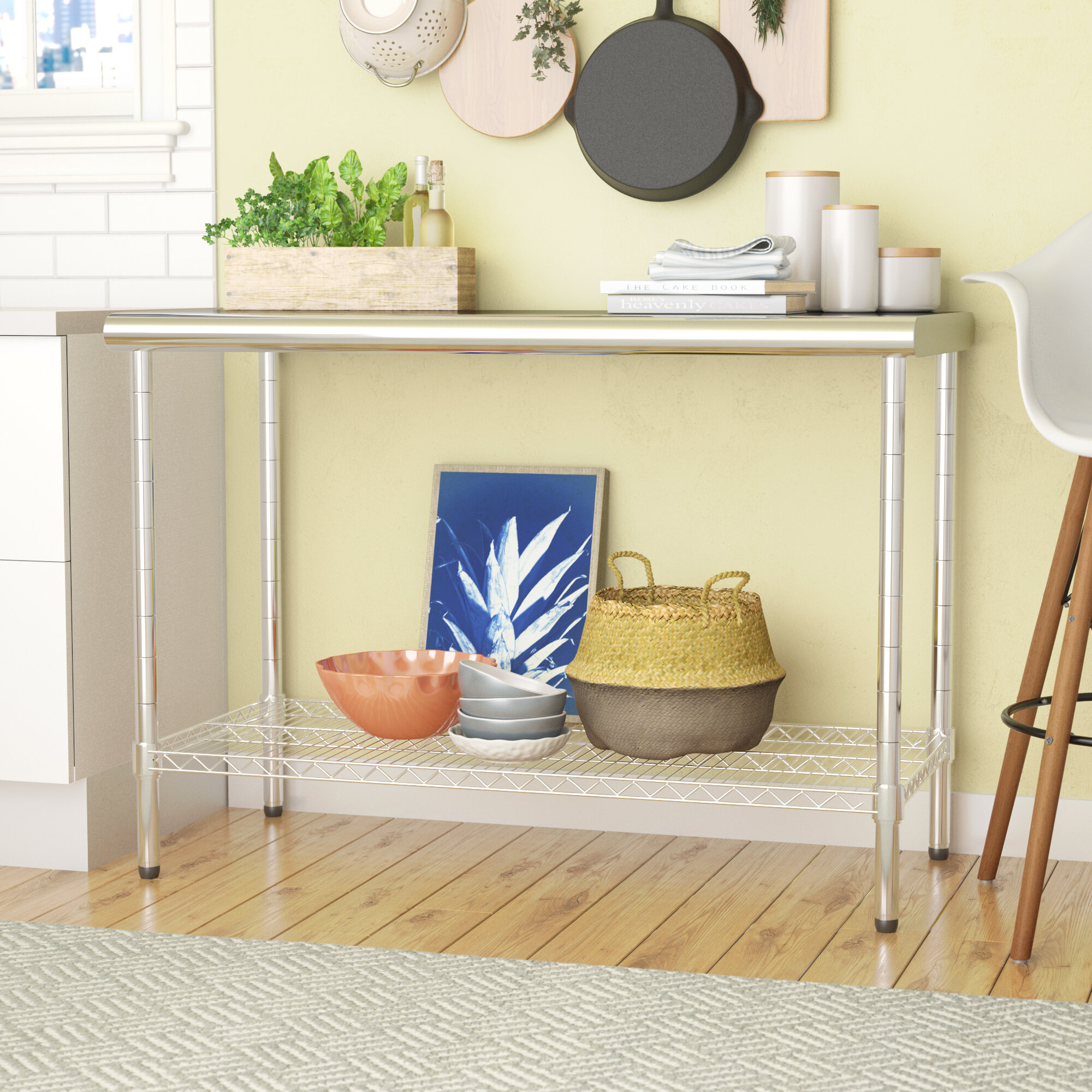 Mercury Row Koss Table with Stainless Steel Top & Reviews   Wayfair