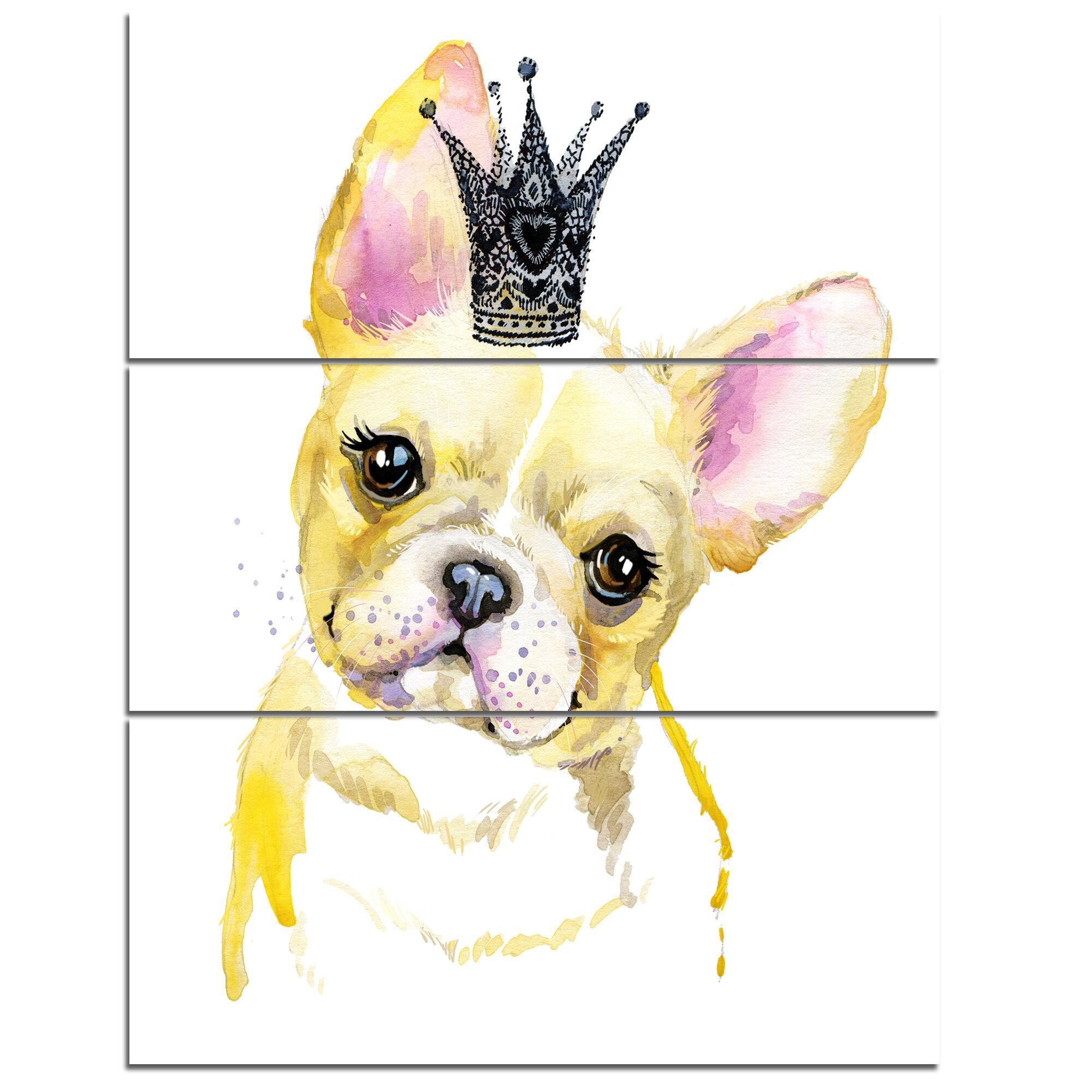 DesignArt \'French Bulldog with Black Crown\' 3 Piece Wall Art on ...