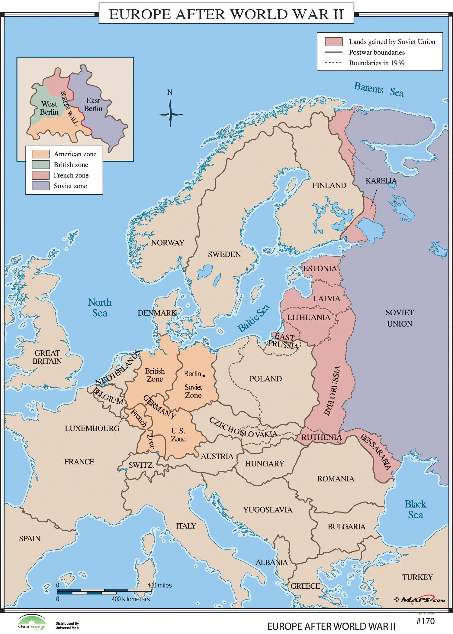 universal map world history wall maps europe after world war ii wayfair