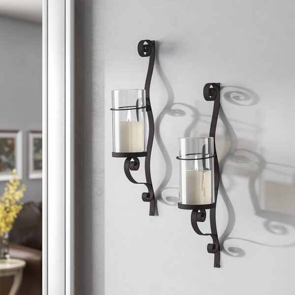 Large Wall Sconces Elements Decoration Wrought Iron Wall Candle Holders | Wayfair