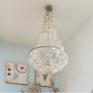 Oyster shell chandelier wayfair manor capiz seashell 3 light chandelier aloadofball Image collections