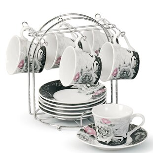 Espresso Cup And Saucer Set With Metal Stand