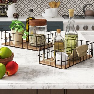2 Piece Wire/Wood Basket Set