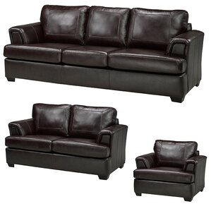 Royal Cranberry Leather 3 Piece Living Room Set by Coja