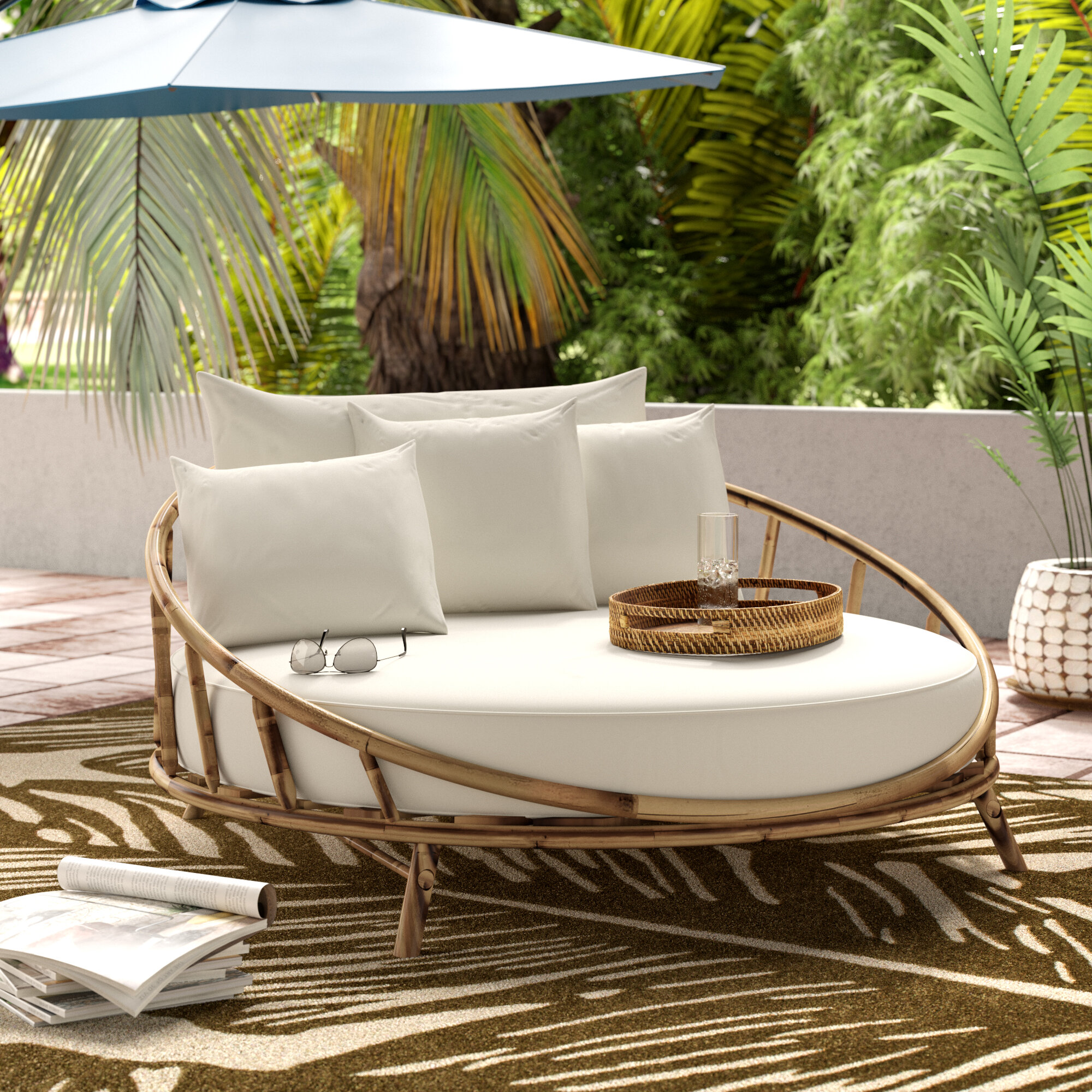 Bayou Breeze Olu Bamboo Large Round Patio Daybed With Cushions Reviews Wayfair