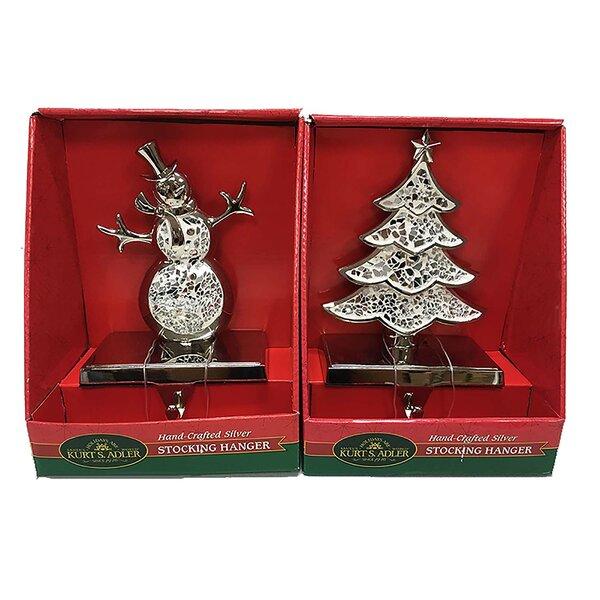 kurt adler 2 piece christmas tree and snowman stocking. Black Bedroom Furniture Sets. Home Design Ideas