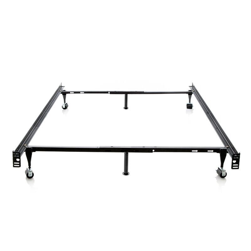 Heavy Duty 6 Leg Adjustable Metal Bed Frame With Rug Roller