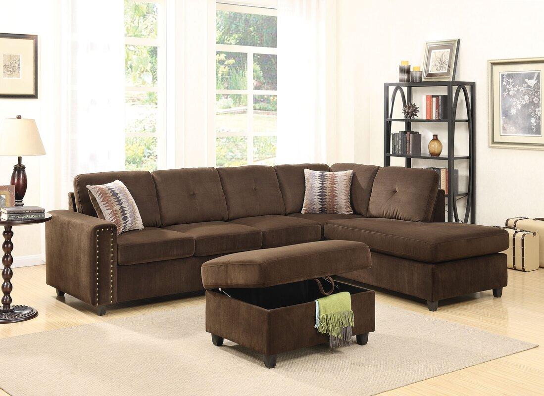 Red Barrel Studio Tavish Reversible Sectional With Ottoman  ~ Reversible Sectional Sofa