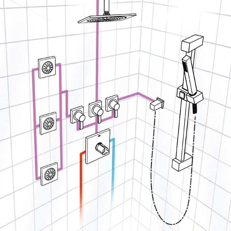 Grohe Square Rain Shower Head Complete Shower System