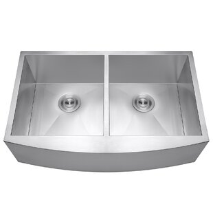 33   x 22   double basin farmhouse kitchen sink with dish grid and drain strainer kit modern farmhouse   apron kitchen sinks   allmodern  rh   allmodern com