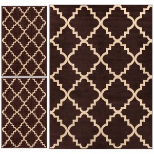 Royal Court 3 Piece Brown Area Rug Set