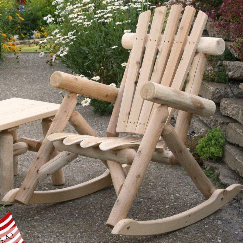Etonnant Solid Wood Rocking Adirondack Chair