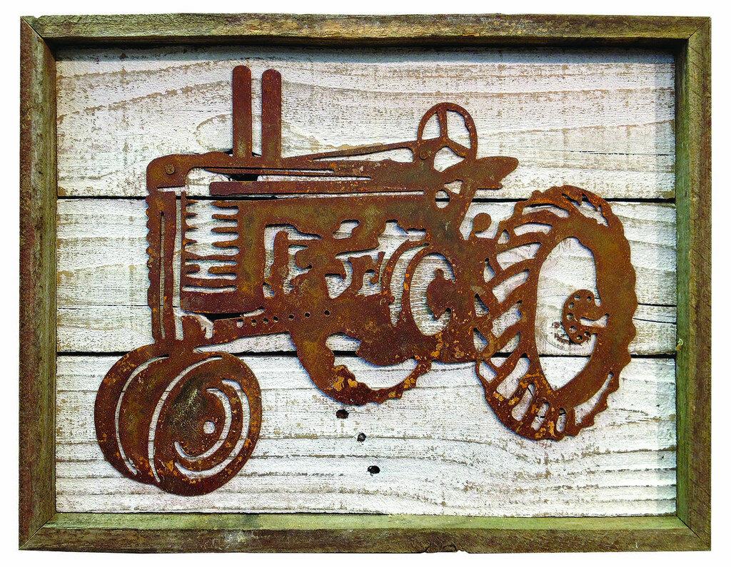 Recherche Rustic Reclaimed Metal Old Tractor Frame Wall Dcor Wayfair