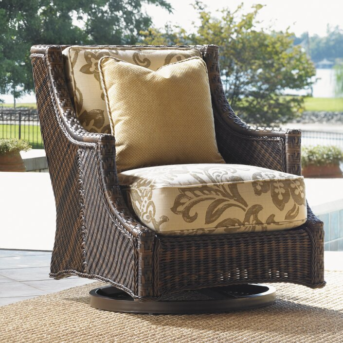 island estate lanai swivel patio chair with cushions