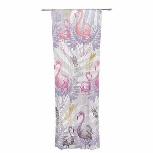 Mmartabc Flamingos And Pineapples Wildlife Sheer Rod Pocket Curtain Panels  (Set Of 2)