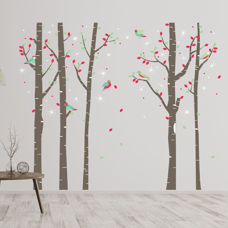 5621f1aa32a3 Birch Tree Forest and Swarovski Crystals 80 Piece Wall Decal Set