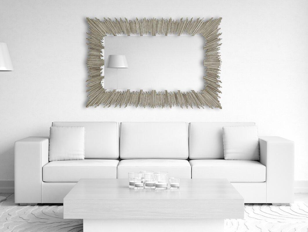 Majestic Mirror Glamorous Rectangular Beveled Glass Framed Wall