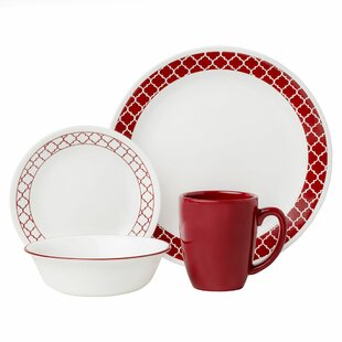 Livingware Crimson Trellis 16 Piece Dinnerware Set, Service For 4