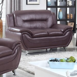 Lester Modern Living Room Faux Leather Loveseat