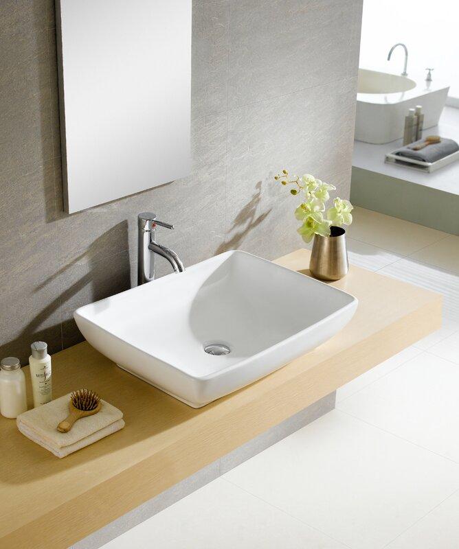 wayfair bathroom sinks. Modern Ceramic Rectangular Vessel Bathroom Sink Fine Fixtures