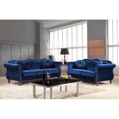Carbon Clic Nailhead Chesterfield 2 Piece Living Room Set