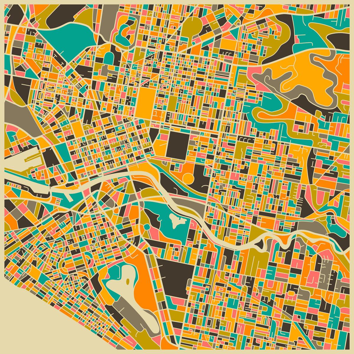 PrestigeArtStudios Melbourne Retro Map Graphic Art | Wayfair