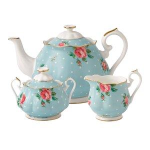 Polka Blue Tea 3 Piece Teapot Set