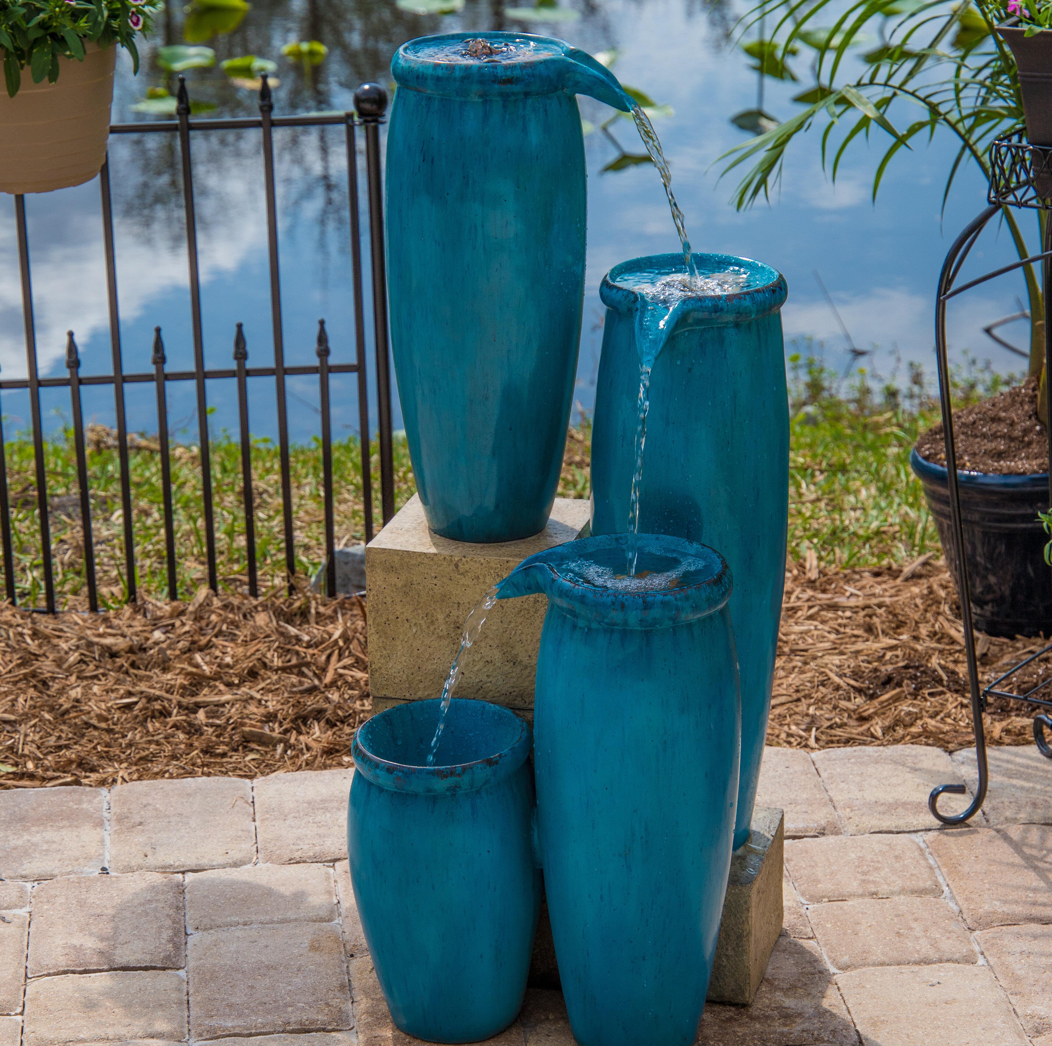 Wildon Home ® Resin Caisson Indoor/Outdoor Floor Fountain & Reviews ...