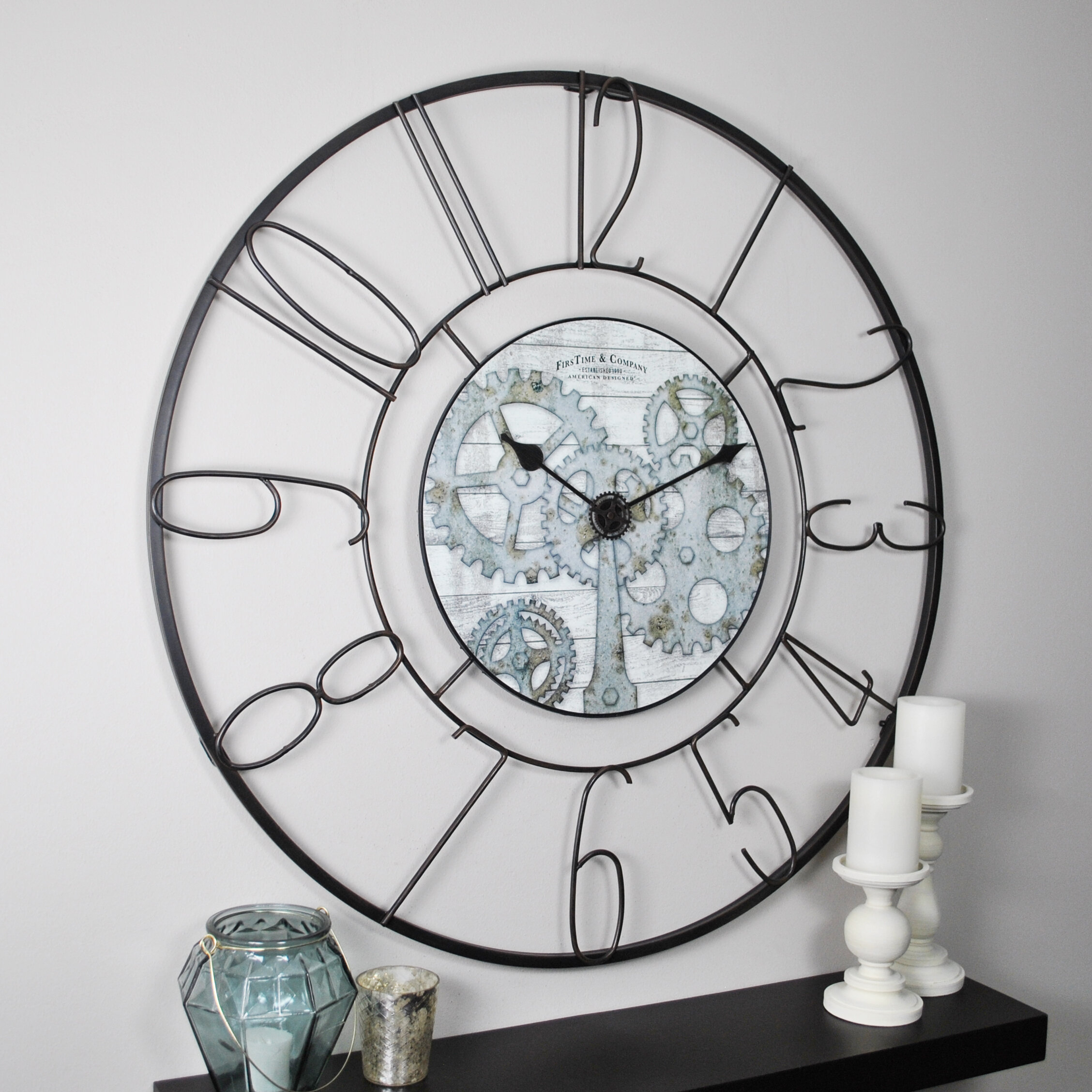 36 wall clock 20 inch firstime oversized fulshaw gears 36