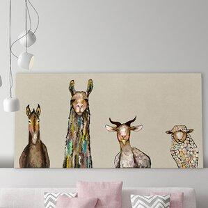 'Donkey, Llama, Goat, Sheep on Cream' Framed on Canvas