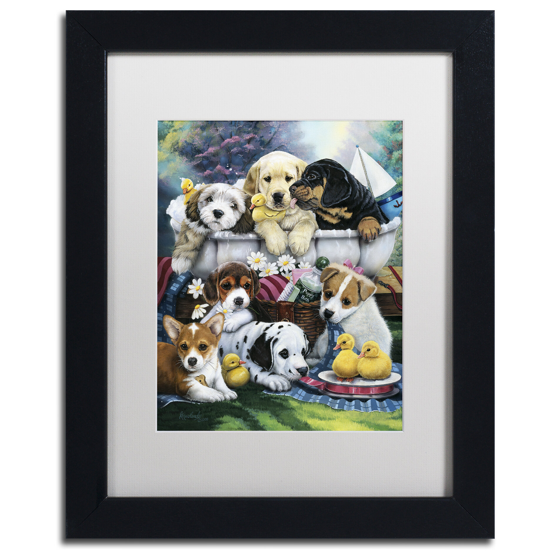 'Bath Time Pups' Framed Graphic Art Print on Canvas