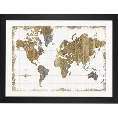 Williston Forge 'Gilded Map' Graphic Art Print Size: 16 H x 24 W x 1 D, Format: Black Frame