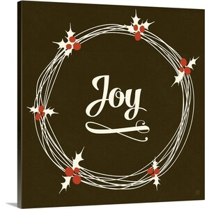 Christmas Art 'Joy' by Aubree Perrenoud Textual Art on Wrapped Canvas