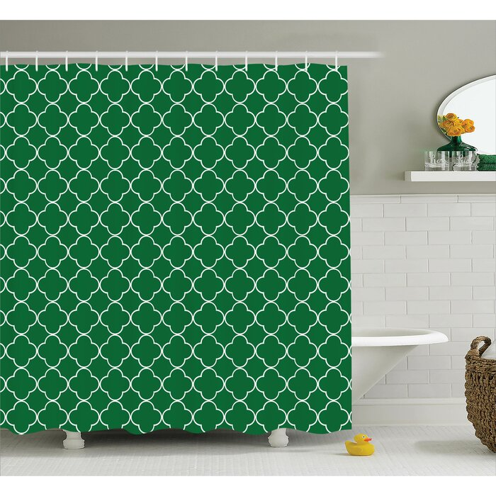 timberlane quatrefoil four leaf clover on moroccan trellis mosaic digital print house cafe decor shower curtain