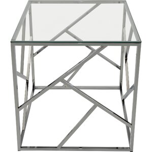 Jetta Glass And Metal End Table