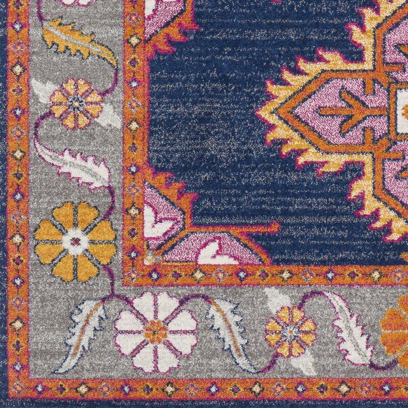 Arteaga Persian Inspired Dark Blue Area Rug
