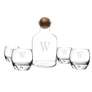 5 Piece Personalized Glass Decanter Set