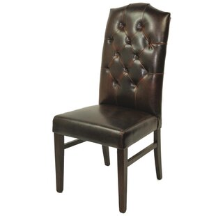 True Leather Tufted High Back Side Chair