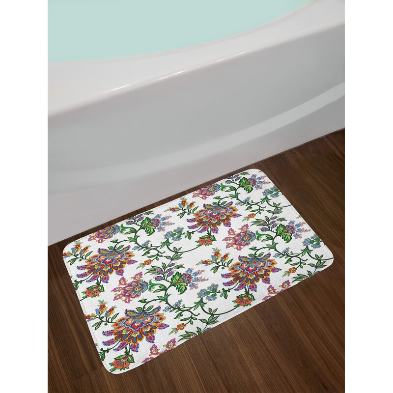 Vintage Style Multicolor Fl Bath Rug