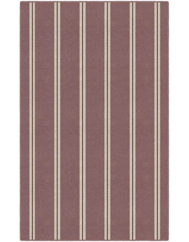 Highland Dunes Kacey Traditional Vertical Striped Red Area Rug, Size: Rectangle 76 x 10