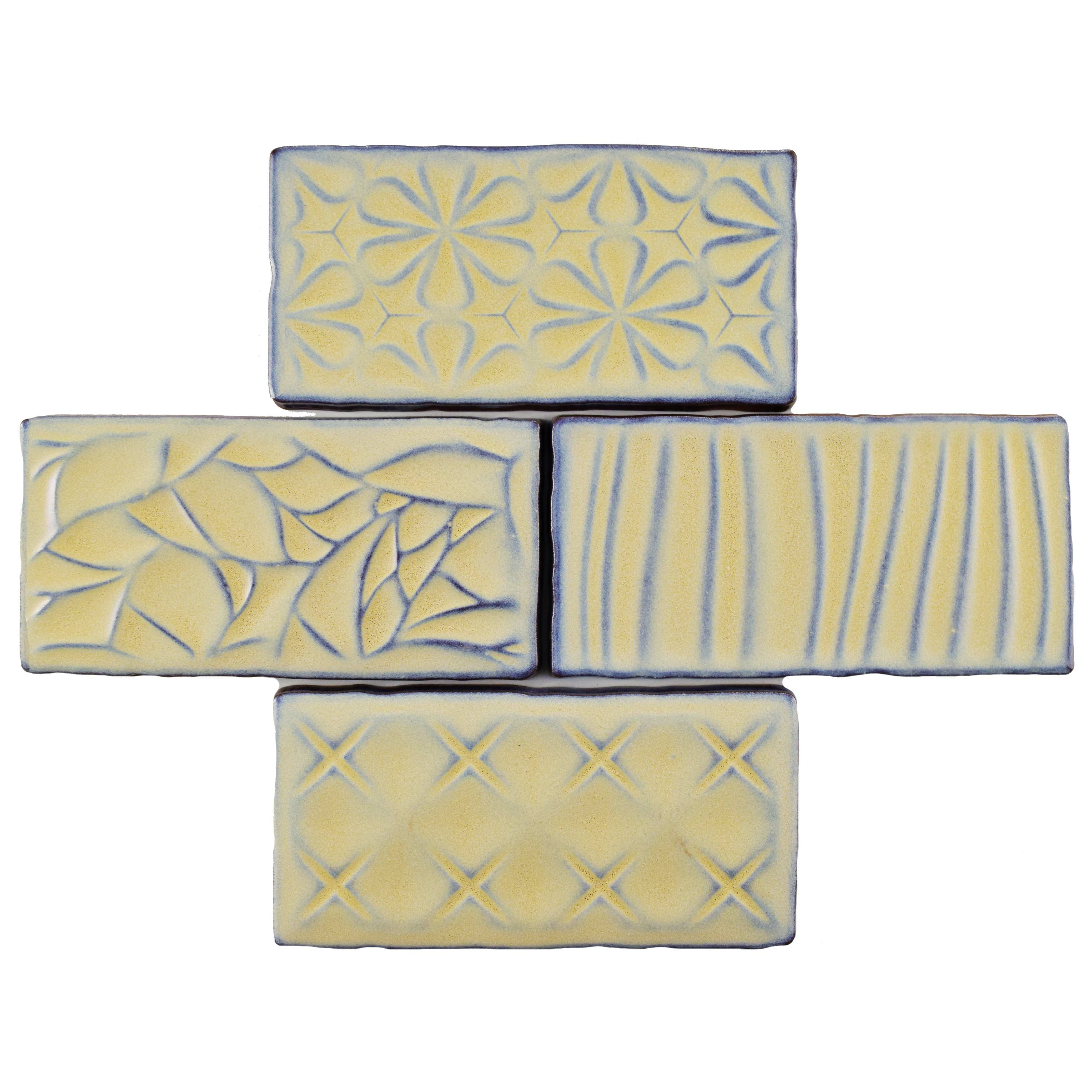 Elitetile Antiqua Sensations 3 X 6 Ceramic Subway Tile In Yellow Light Blue Wayfair