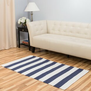 Hand Loomed Blue White Area Rug