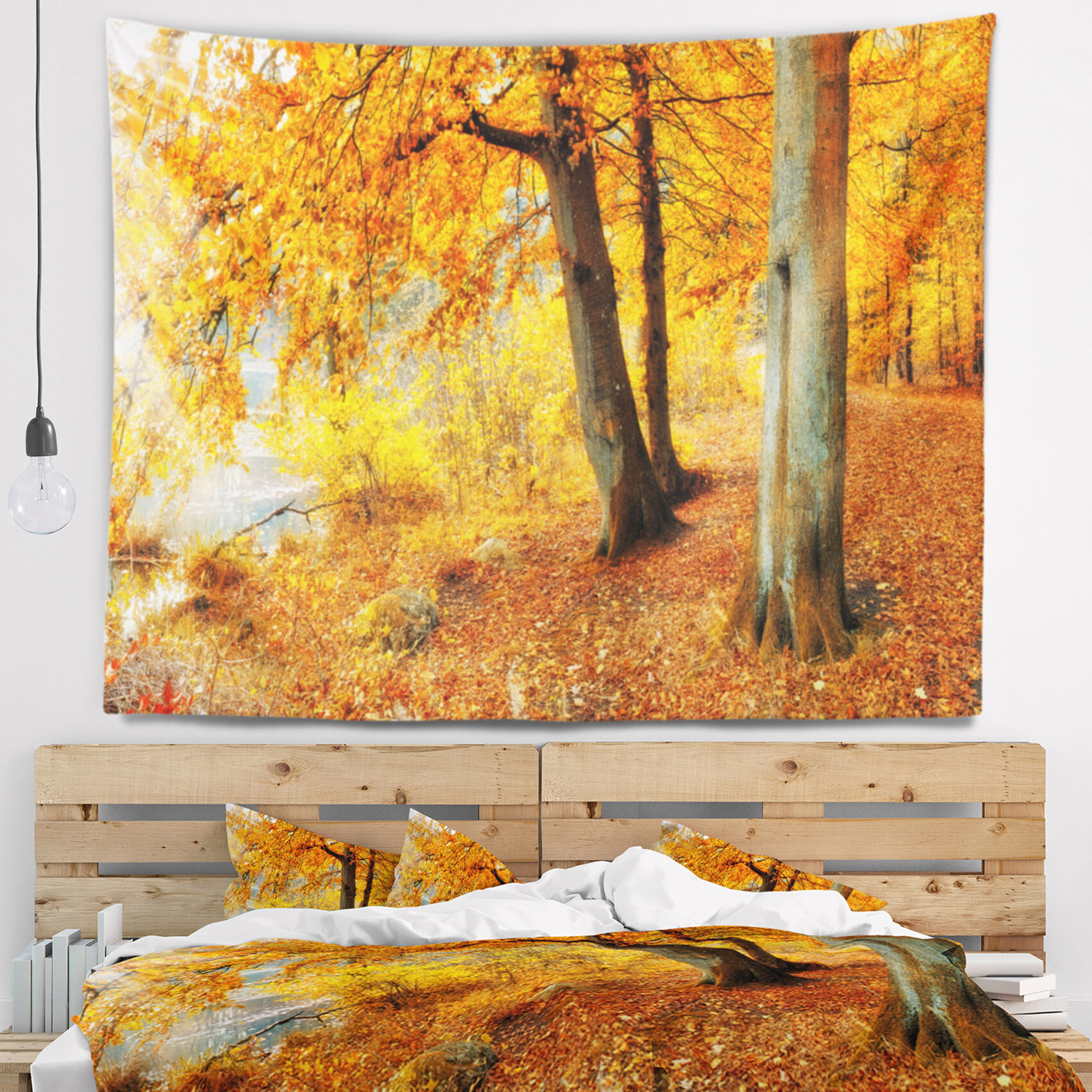 East Urban Home Landscape Yellow Forest of Autumn Tapestry and Wall ...