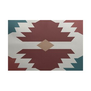 Houten Geometric Print Orange Indoor/Outdoor Area Rug