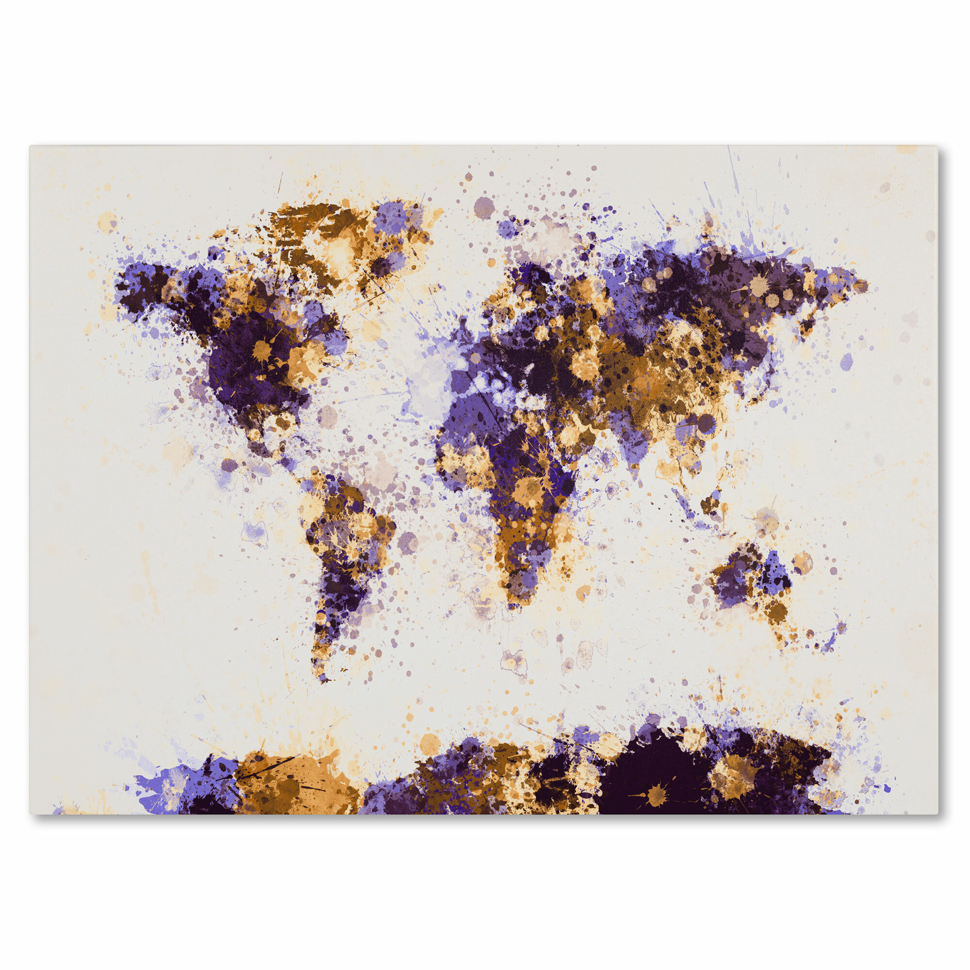 Trademark art paint splashes world map 4 by michael tompsett trademark art paint splashes world map 4 by michael tompsett framed painting print on wrapped canvas wayfair gumiabroncs Image collections