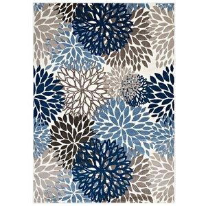 Hillam Vintage Classic Floral Blue/Brown/Beige Area Rug
